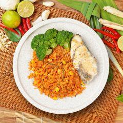 Garlic Seabass Tom Yam Cauli Rice